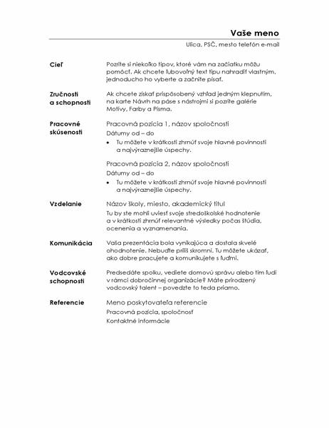 Funkčný životopis (minimalistický návrh)
