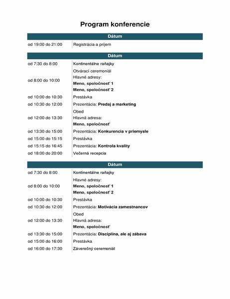 Program podujatí vrámci konferencie