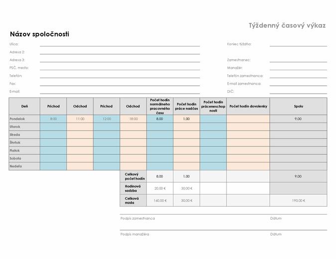 Týždenný časový výkaz (8,5 x 11, na šírku)