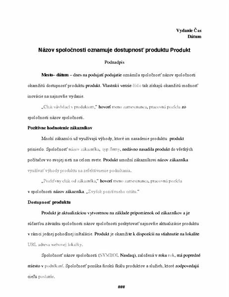 Tlačová správa soznámením dostupnosti produktu