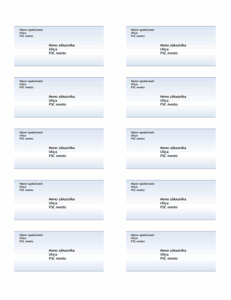 Poštové štítky (návrh smodrým prechodom, 10 na stranu)