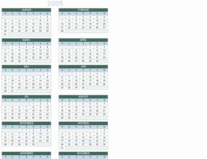 Ročný kalendár na obdobie 2005 až 2014 (pondelok až nedeľa)