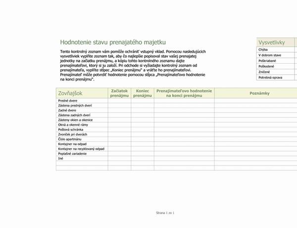 Hodnotenie stavu prenajatého majetku