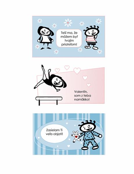 Výroba vlastných valentínskych pozdravov pre deti (4 stránky návrhov na pohľadnice a 1 univerzálna zadná strana)