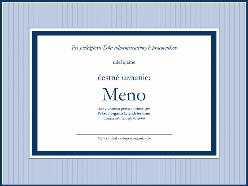 Čestné uznanie pre administratívneho pracovníka