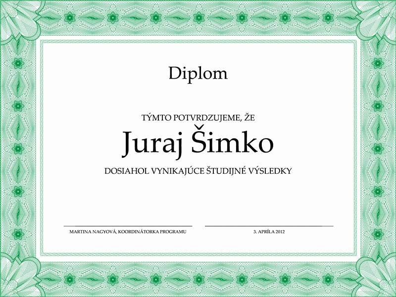 Školský diplom (s formálnym zeleným orámovaním)