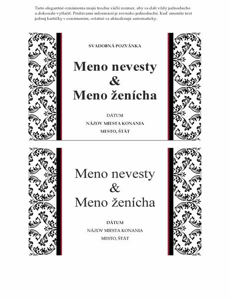 Pohľadnica so svadobným oznámením ainformáciou otermíne konania (čiernobiely svadobný návrh)
