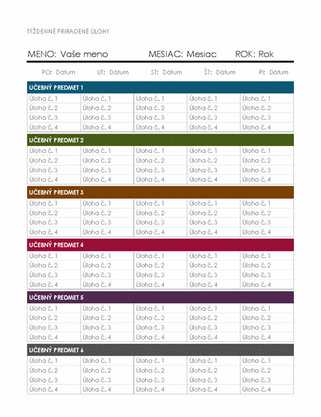Týždenný kalendár priradených úloh
