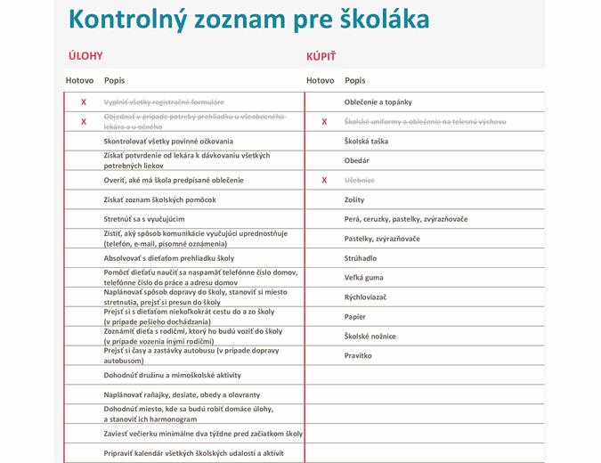 Kontrolný zoznam pri začiatku školského roka
