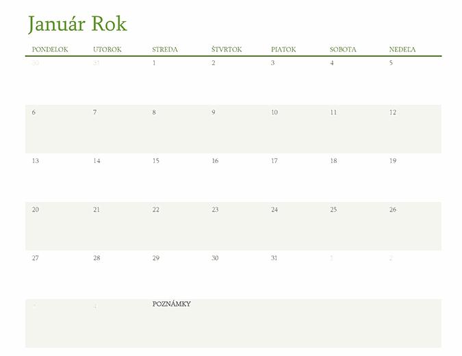Kalendár na ktorýkoľvek rok (1 mesiac na hárok)