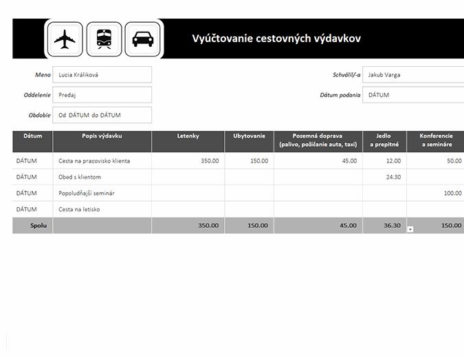 Vyúčtovanie cestovných výdavkov