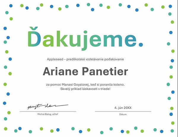 Ďakovný diplom