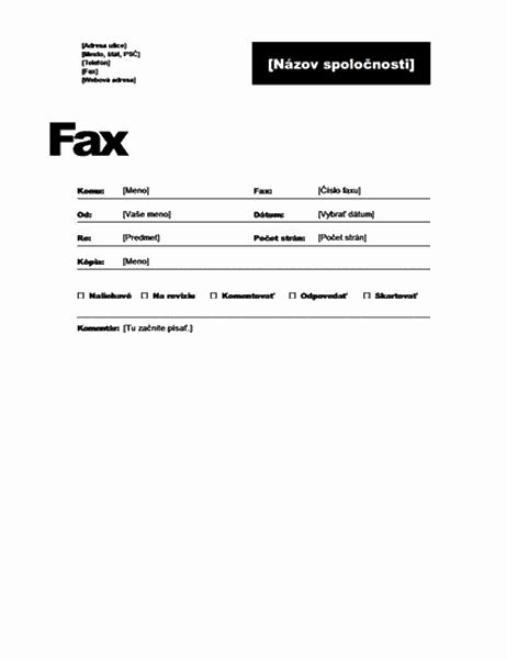 Úvodná strana faxu