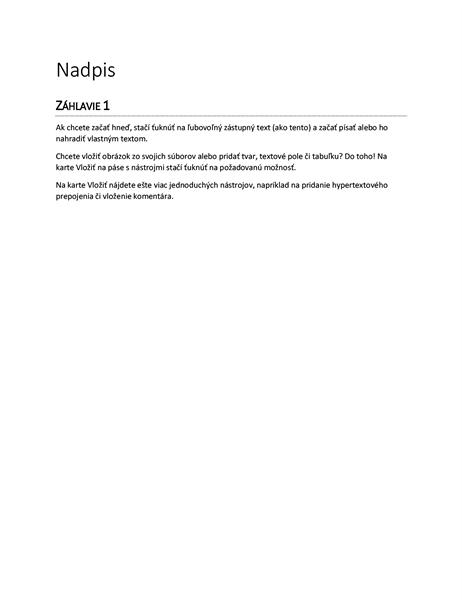 Prázdny dokument s návrhom správy