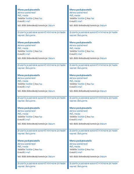 Kartičky sdohodnutým termínom (10 na stranu)