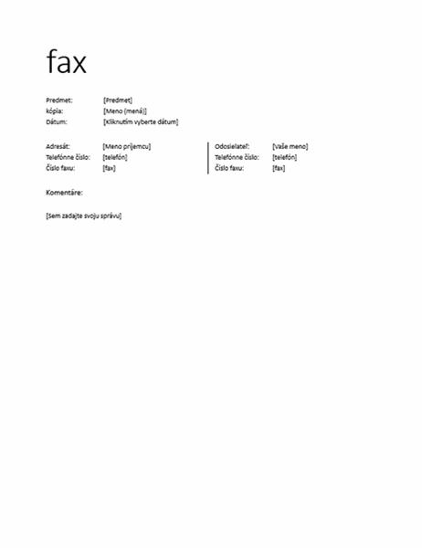 Hárok titulnej strany faxu (neformálny)