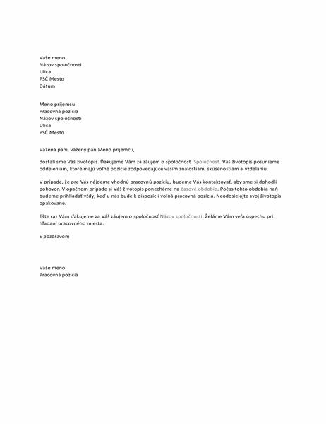 List pre uchádzača oprácu spotvrdením prijatia podkladov