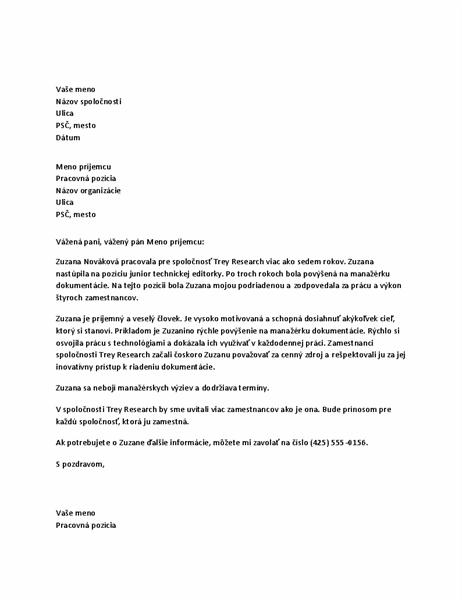 Odporúčací list pre zamestnanca na pozícii manažéra