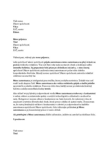Referenčný list pre profesionálnych zamestnancov