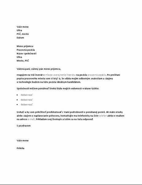 Vzorový sprievodný list ako odpoveď na inzerát sponukou technickej pozície