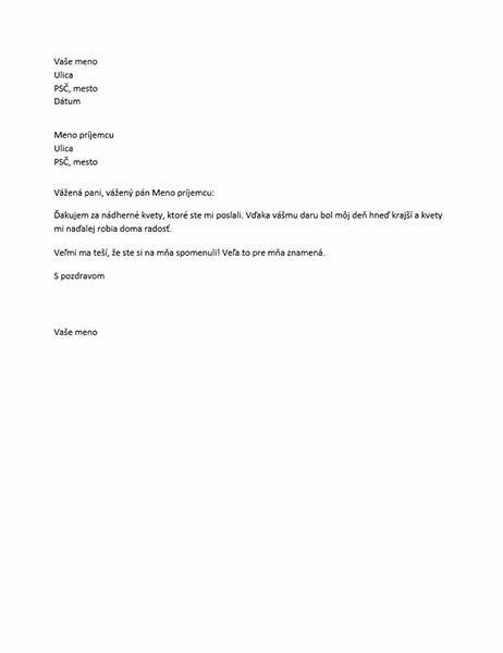 Ďakovný list za osobný darček