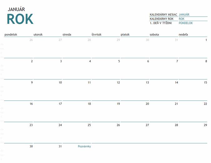 Jednomesačný kalendár na ľubovoľný rok spoznámkami