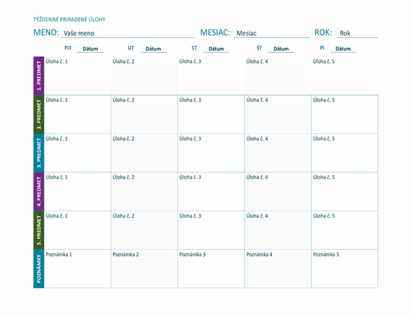 Hárok stýždennými priradenými úlohami (farebný, na šírku)