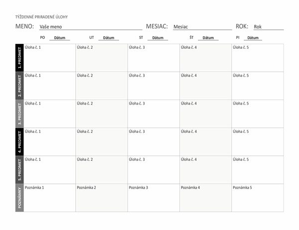 Hárok stýždennými priradenými úlohami (na šírku)