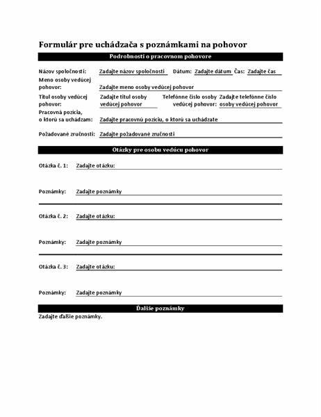 Formulár pre uchádzača spoznámkami na pohovor