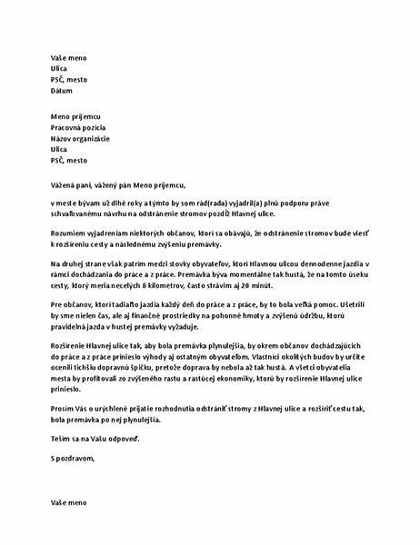 List svyjadrením podpory miestnemu úradu