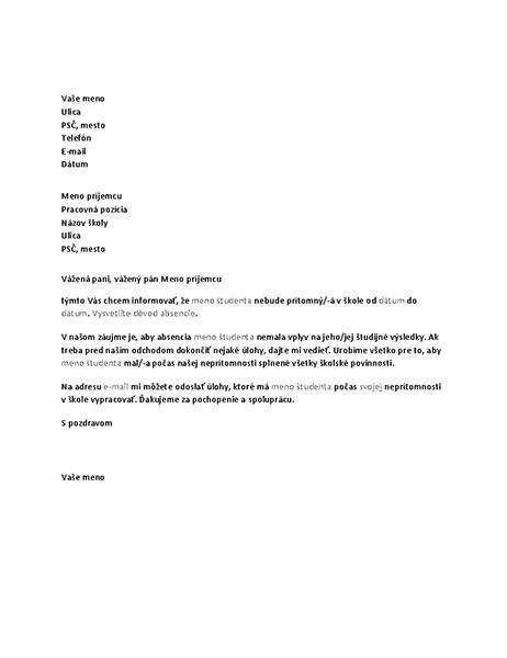 List soznámením plánovanej absencie študenta vškole