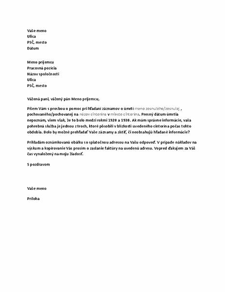 List pohrebnej službe so žiadosťou o genealogické záznamy