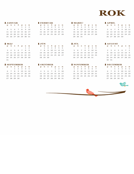 Kalendár na rok svtákmi (pondelok až nedeľa)