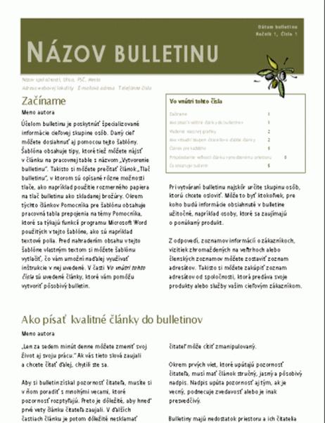 Firemný bulletin (2 stĺpce, 6 strán, na odoslanie)