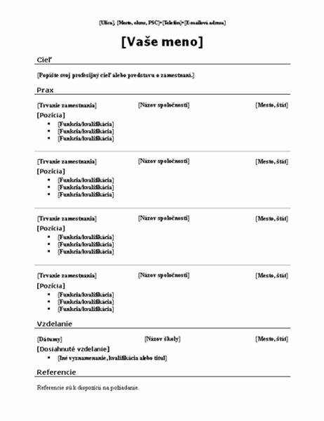 Chronologický životopis (tradičné usporiadanie)