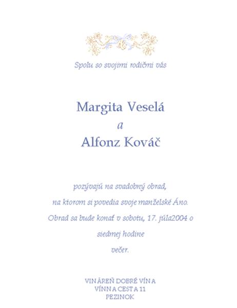 Pozvánka na svadbu (tradičná)