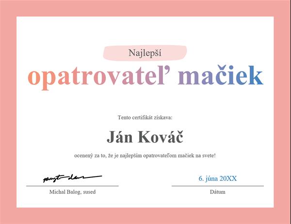 Diplom Najlepší na svete