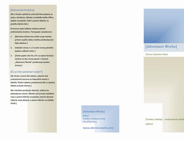 Brožúra (8 1/2 x 11, na šírku, zložená na 2 časti)