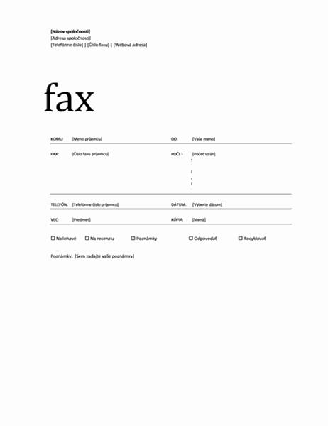 Úvodná strana faxu (pracovný motív)