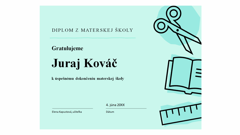 Certifikát z materskej školy