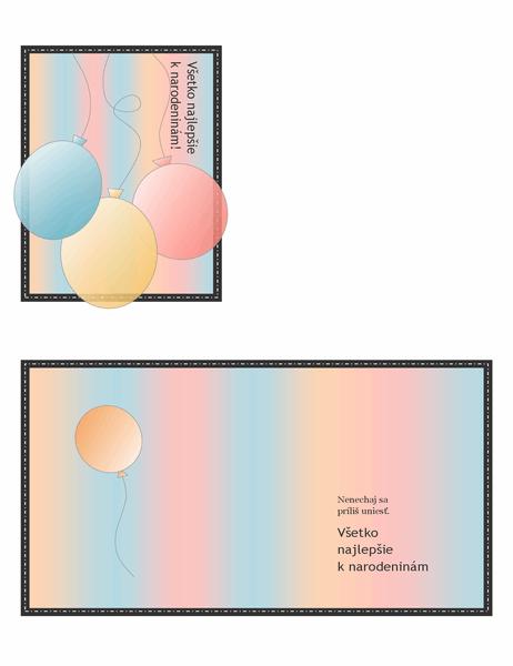 Narodeninová pohľadnica (sbalónmi apruhmi, preložená na štvrtiny)