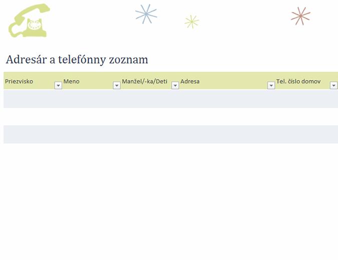 Adresár a telefónny zoznam