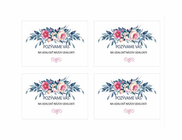Pozvánka na večierok (kvetinový dizajn)