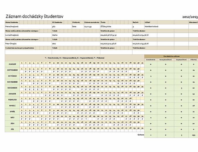 Záznam dochádzky študentov