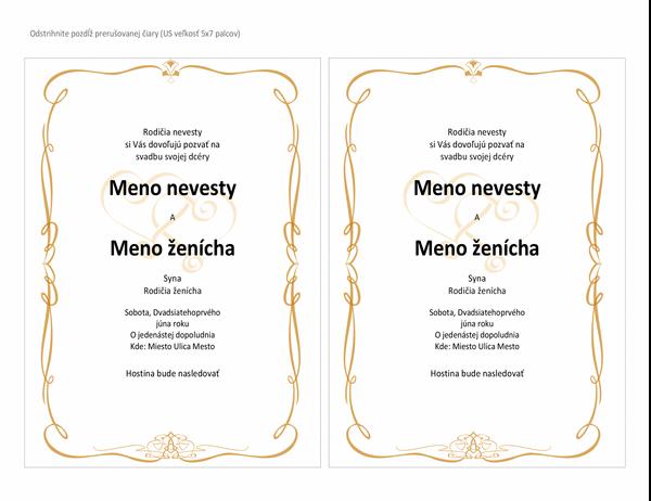 Svadobné pozvánky (návrh Heart Scroll, veľkosť A7, 2 na stranu)