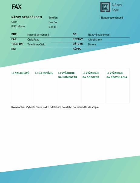 Titulná strana faxu (návrh so zeleným prechodom)