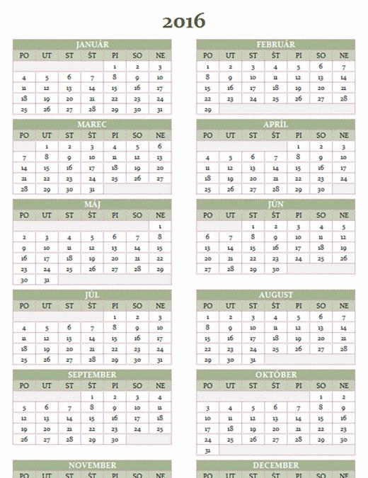 Kalendár na roky 2016 – 2025 (pondelok až nedeľa)