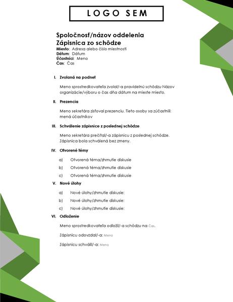 Agenda strojuholníkmi