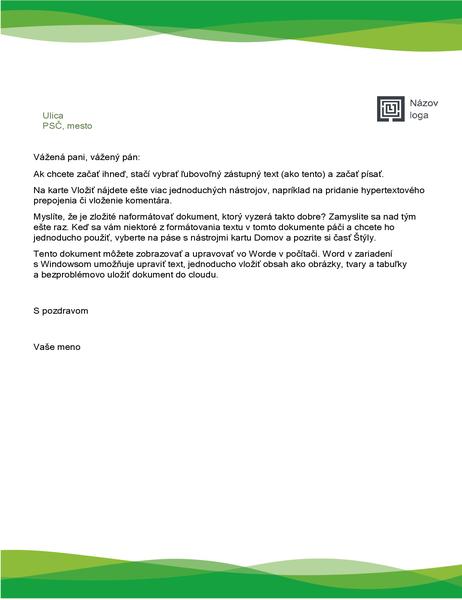 Záhlavie listu (motív s vlnami v zelenej farbe)