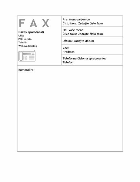 Hárok titulnej strany firemného faxu